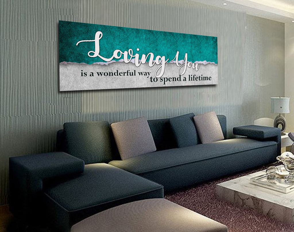 Loving You Is A Wonderful Way To Spend A Lifetime Framed Canvas Romantic Wall Art - Royal Crown Pro