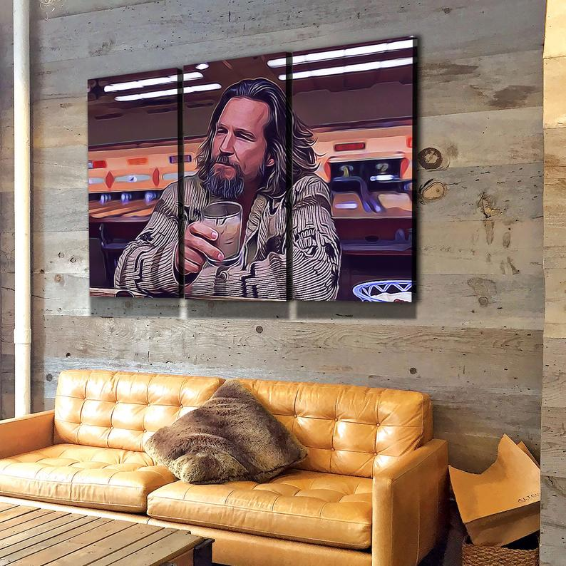 The Dude Canvas Wall Art, The Big Lebowski, The Dude Canvas Print 3 Piece Wall Art Set - Royal Crown Pro