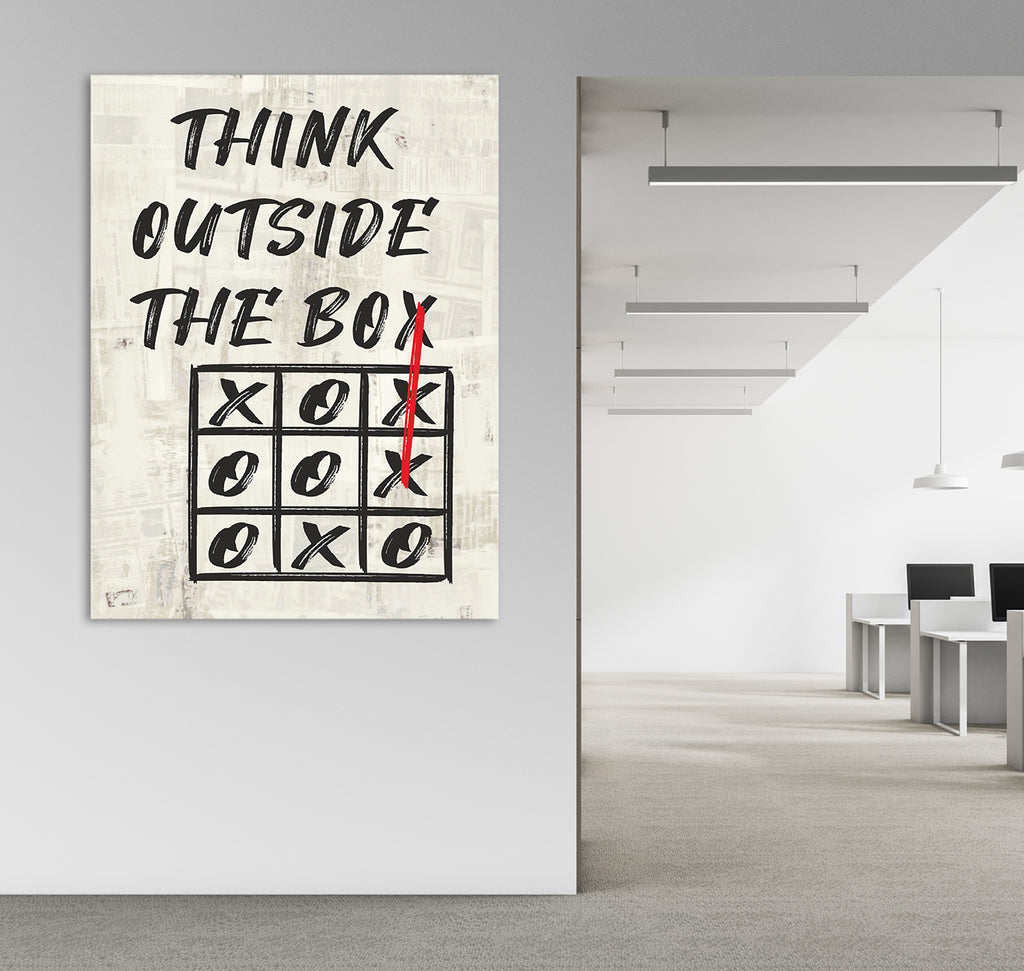 Think Outside The Box Canvas Wall Art, Motivational Art, Office Decor, Wall Art, Motivational Quotes, Office Inspiration - Royal Crown Pro