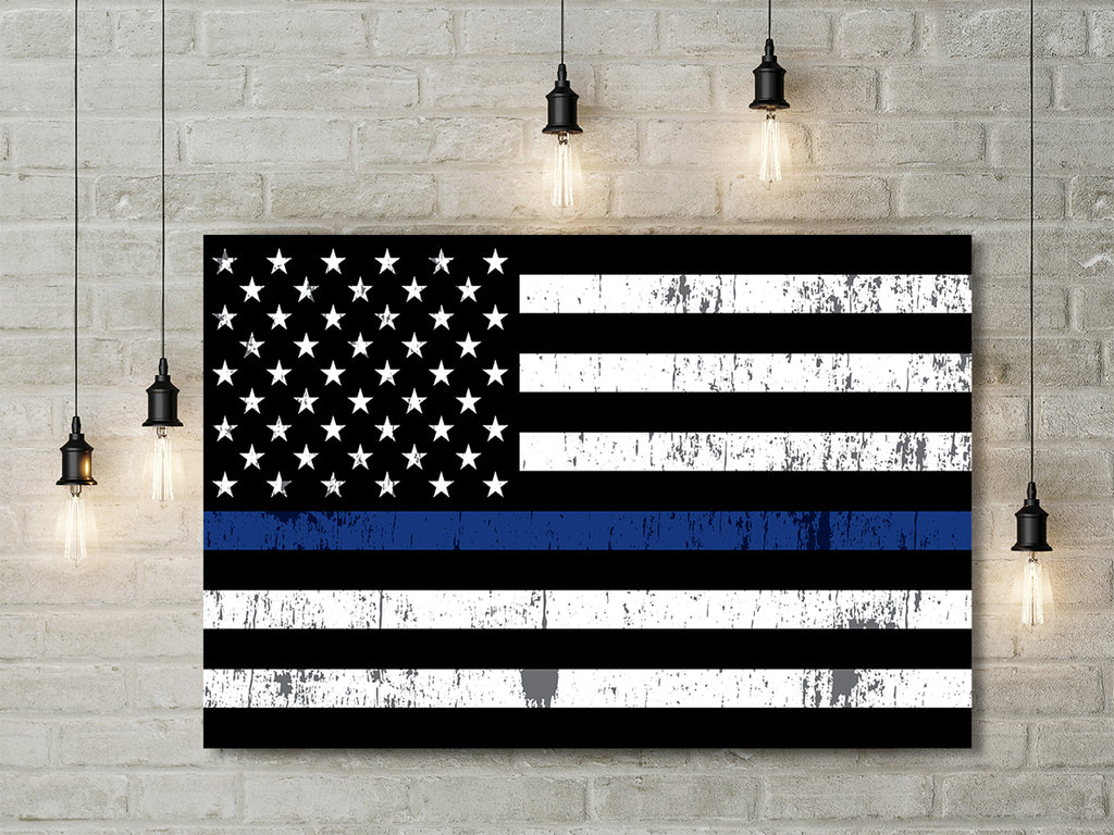 Thin Blue Line US Flag Framed Canvas Wall Art Blue Lives Matter LEO Police - Royal Crown Pro