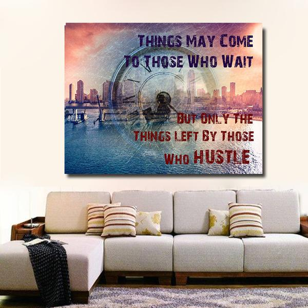Only Left By those Who Hustle Framed Canvas Wall Art - Royal Crown Pro