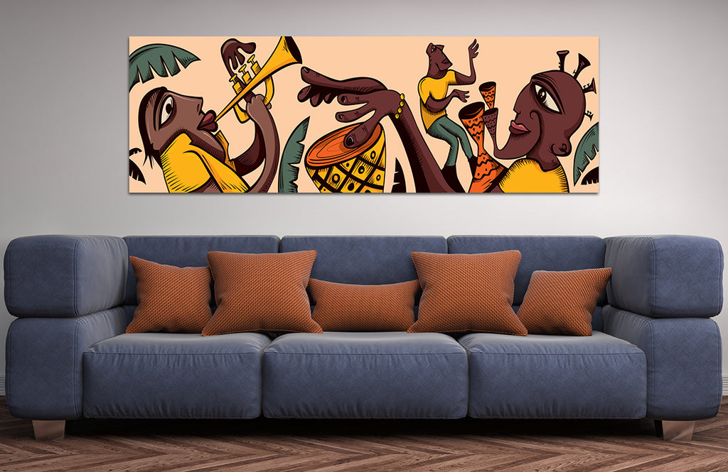 Tribal Music Art African Music Canvas Wall Art - Royal Crown Pro