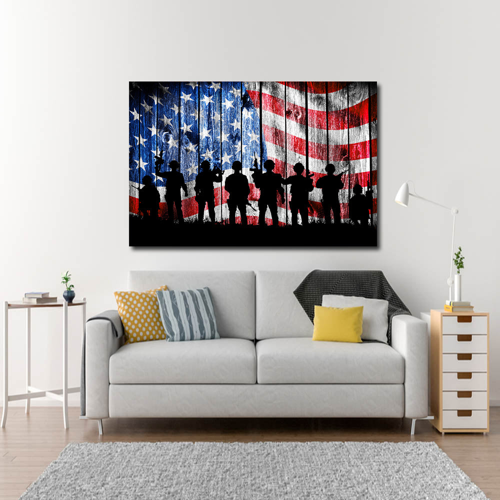 US Flag Soldier Silhouette Canvas Wall Art, USA Military, Soldiers Flag, USA Flag, Veterans - Royal Crown Pro