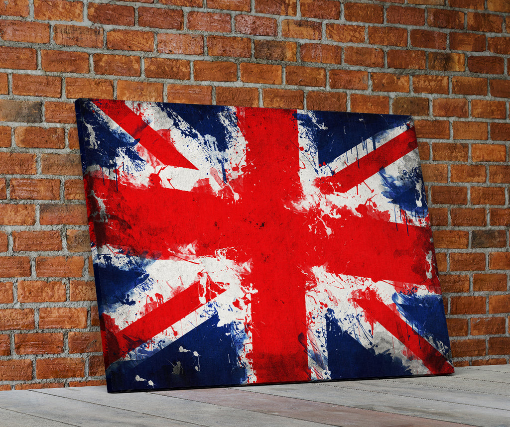 Union Jack Abstract Flag Framed Canvas Wall Art British flag UK - Royal Crown Pro