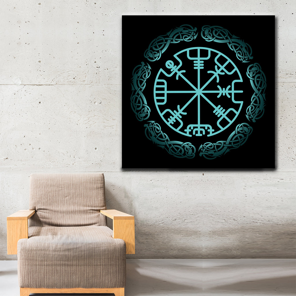 Vegvisir Viking Symbol Icelandic Magical Stave Framed Wall Art - Royal Crown Pro