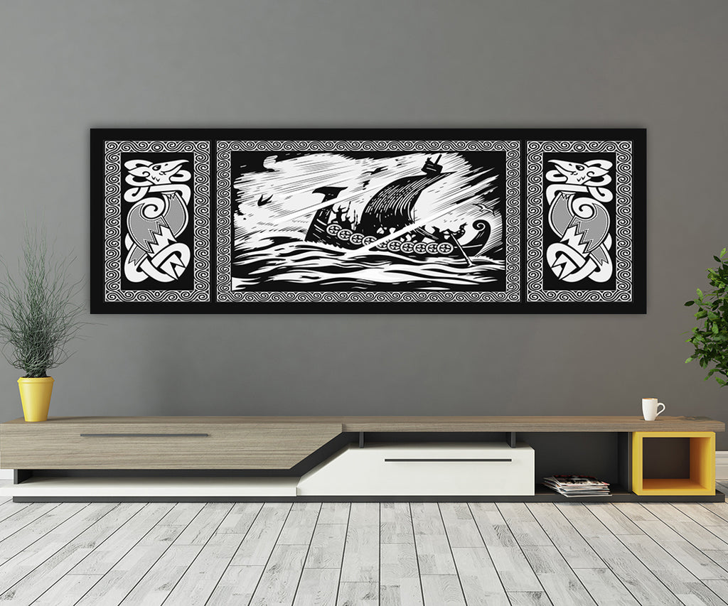 Viking Drakkar Dragon Ship Sailing Stormy Sea Canvas Wall Art, Viking Decor - Royal Crown Pro