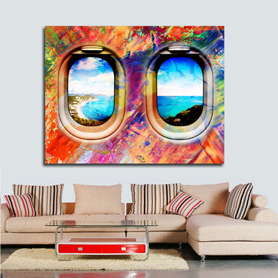 Airplane Window Seat Travel Lovers Framed Canvas Wall Art Abstract Airplane Window Art - Royal Crown Pro