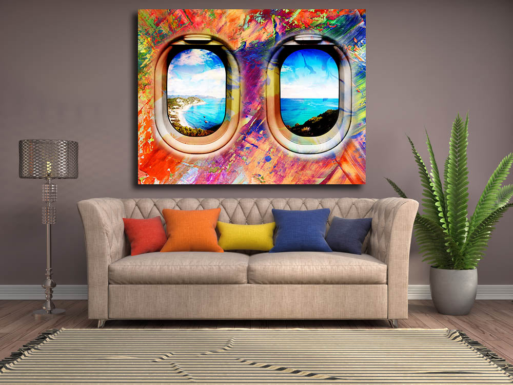Airplane Window Seat Travel Lovers Framed Canvas Wall Art Abstract Air