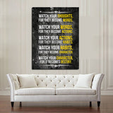 Watch Your Thoughts For They Become Words Motivational Canvas Wall Art - Royal Crown Pro