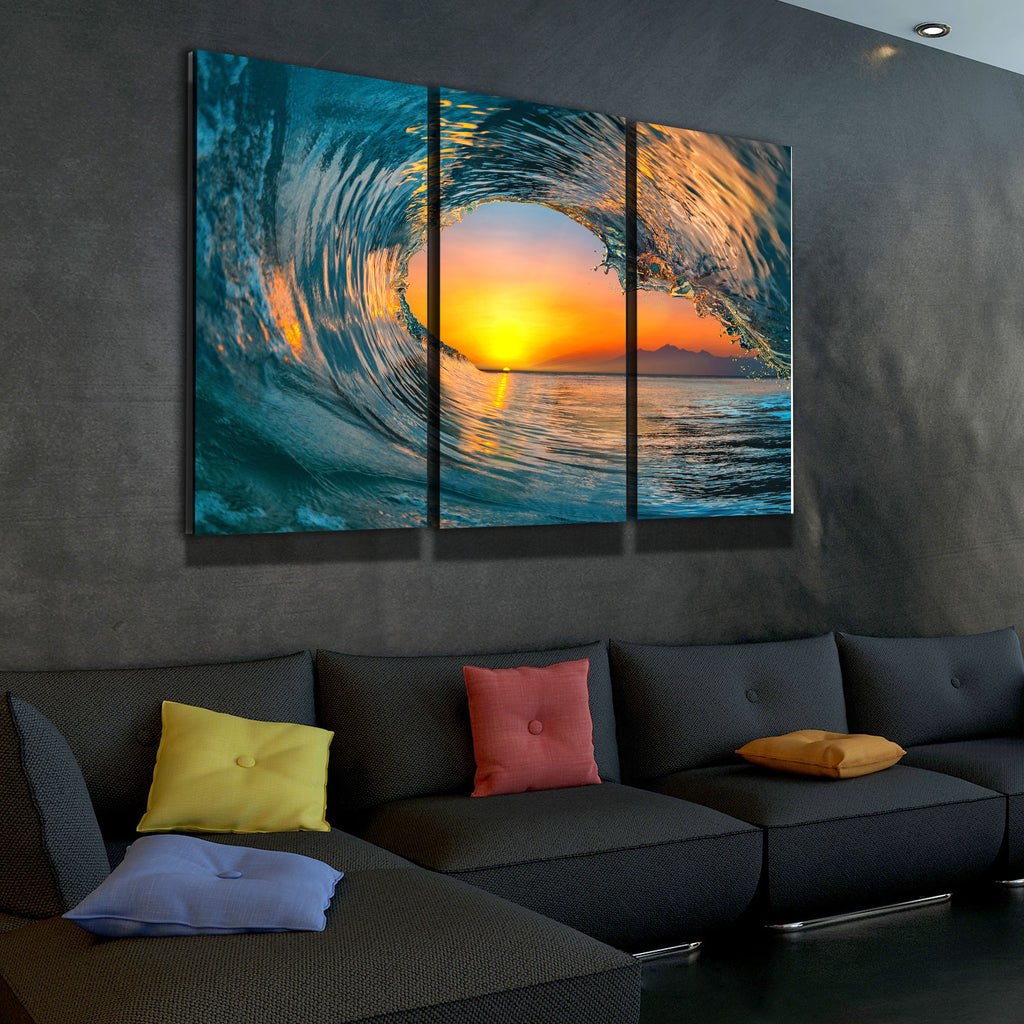 Wave Carve Limited Edition 3-Piece Wall Art Canvas - Royal Crown Pro