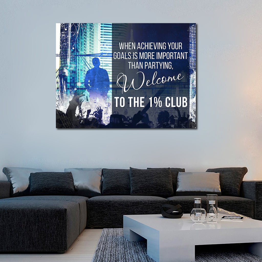 Welcome To The 1% Club Canvas Wall Art Motivational Wall Decor - Royal Crown Pro