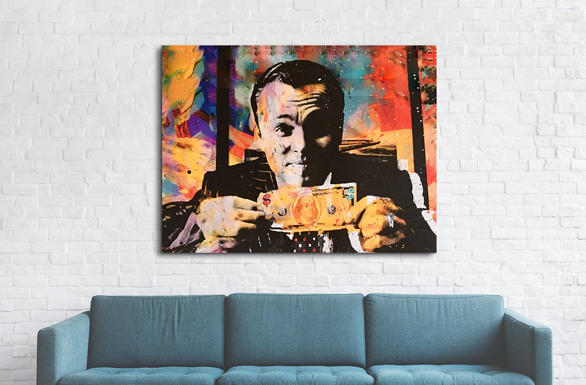 ... Wolf Of Wall Street Money Talks Abstract Framed Canvas Wall Art  Invincible   Royal Crown Pro ...