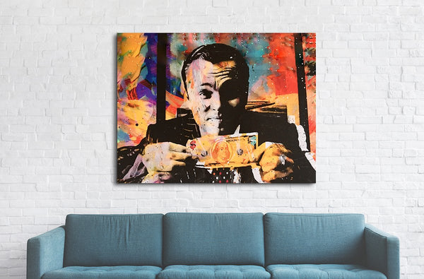 Wolf Of Wall Street Money Talks Abstract Framed Canvas