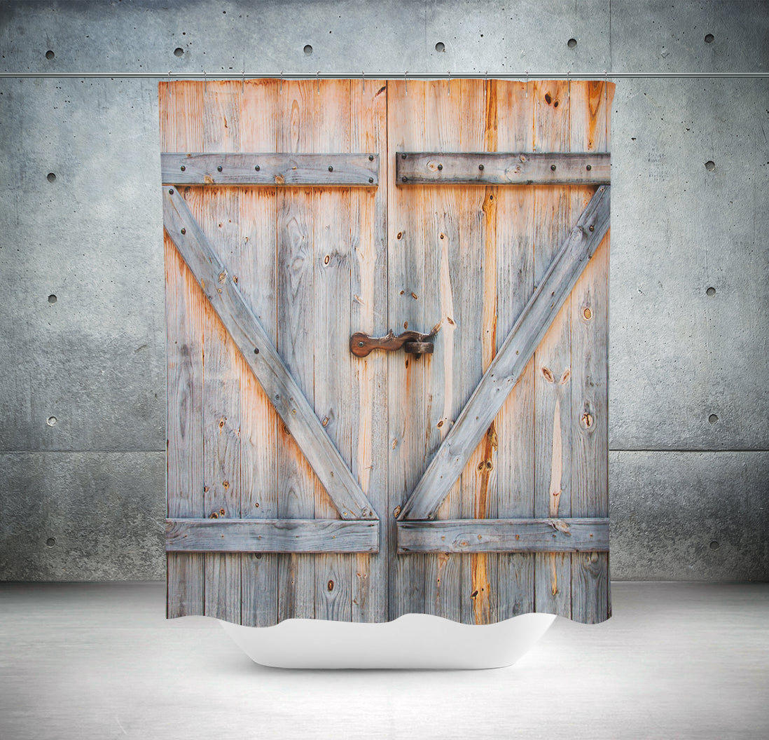 ... Old Barn Door Shower Curtain Rustic Vintage Farm Door Bathroom   Royal  Crown Pro