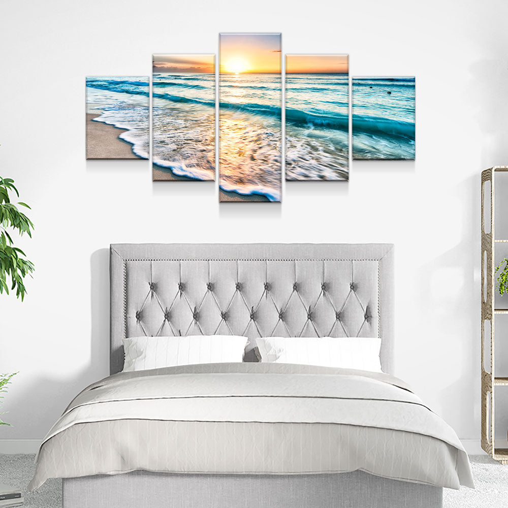 Good Morning Ocean View 5-Piece Wall Art Canvas - Royal Crown Pro