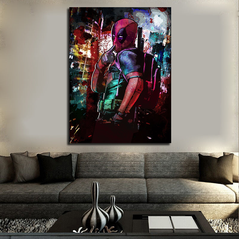 Deadpool Inspired Abstract Canvas Wall Art - Royal Crown Pro