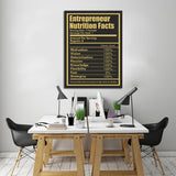 Entrepreneur Nutrition Facts Canvas Wall Art Entrepreneur CEO Art - Royal Crown Pro