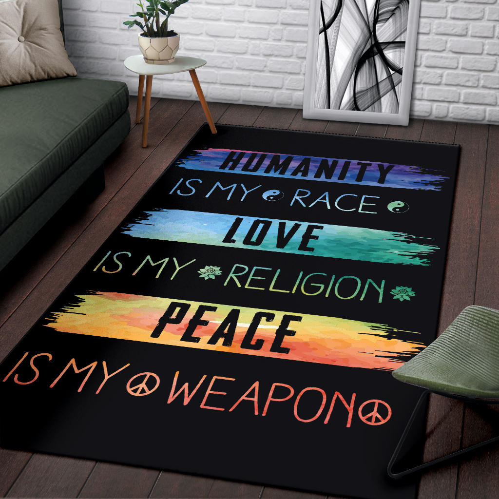 Humanity Is My Race Peace Is My Weapon IS MY Area Rug - Royal Crown Pro