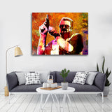 Big Lebowksi Mark It Zero Abstract Framed Canvas Wall Art - Royal Crown Pro