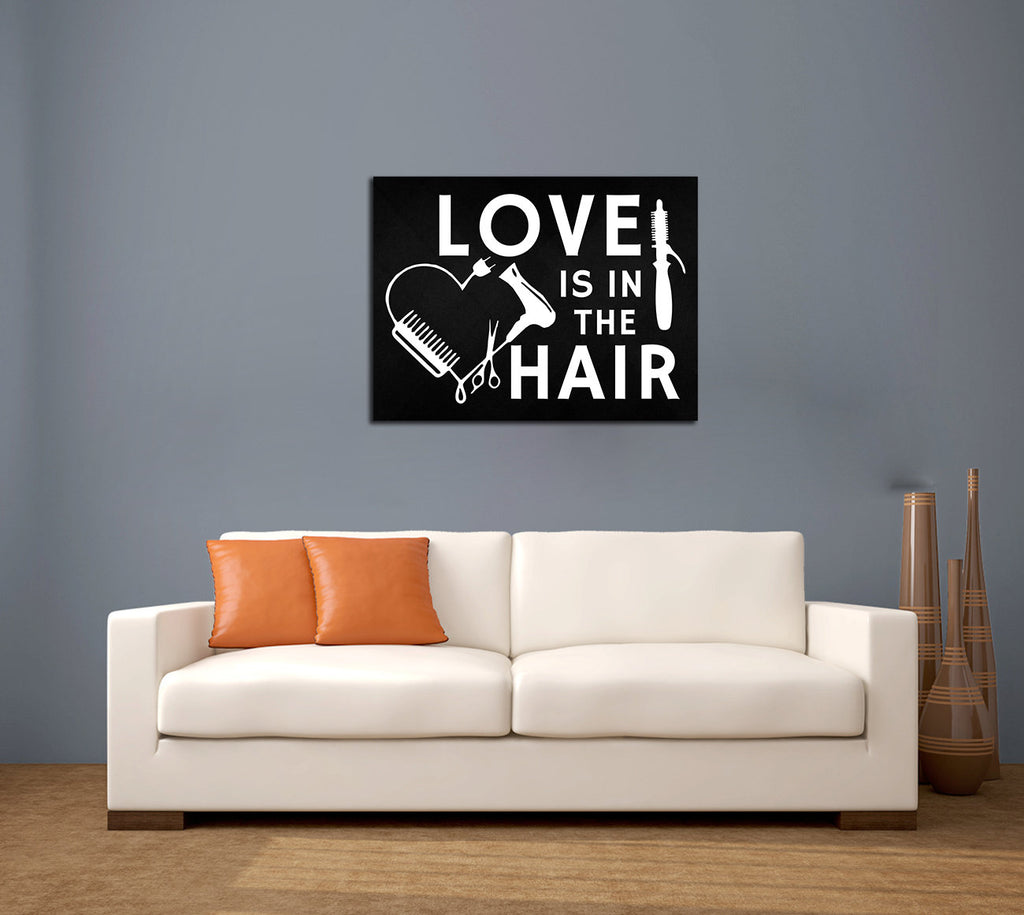 Love Is In The Hair Canvas Wall Art, Beauty Salon, Hair Salon, Barber Shop, Salon Decor, Hair Stylist - Royal Crown Pro