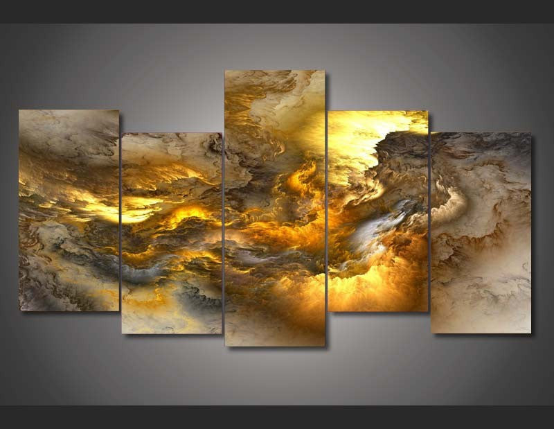 Fire Nebula 5-Piece Wall Art Canvas - Royal Crown Pro