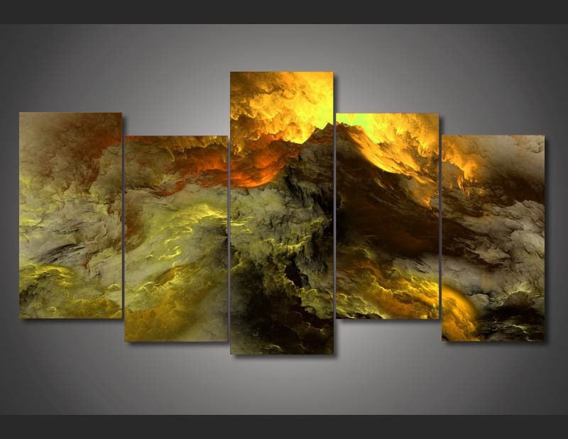 Clouds Of Golden Fire 5-Piece Wall Art Canvas - Royal Crown Pro
