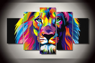 Lion Of Color 5-Piece Wall Art Canvas - Royal Crown Pro