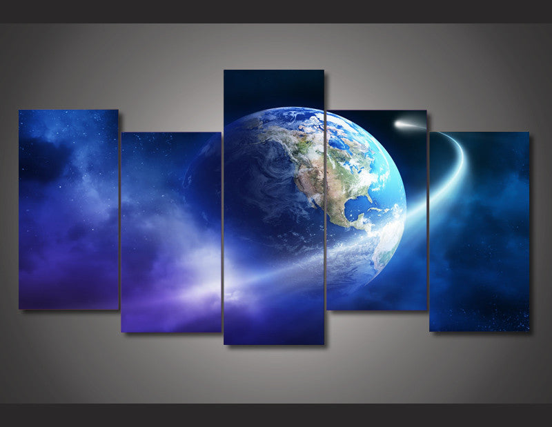 Earth Space Trip 5-Piece Wall Art Canvas - Royal Crown Pro