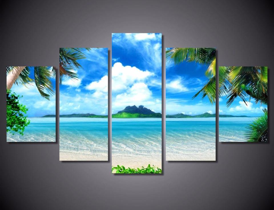 Ocean Island 5-Piece Wall Art Canvas - Royal Crown Pro