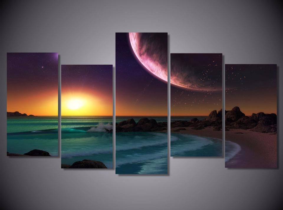 Universe Sunset Divide 5-Piece Wall Art Canvas - Royal Crown Pro