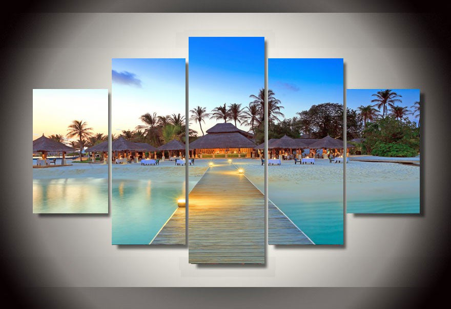 Tropical Island Arrival 5-Piece Framed Wall Art Canvas Island Travel Art - Royal Crown Pro