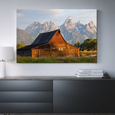 Old Barn Grand Teton 1-Piece Framed Canvas Wall Art - Royal Crown Pro