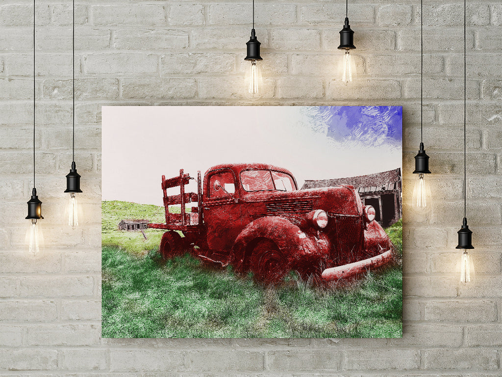 Abstract Framed Canvas Wall Art Featuring Old Red Farm Truck