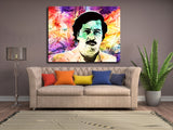 "Pablo Escobar ""Money"" Framed Canvas Wall Art Pablo Escobar Abstract Art - Royal Crown Pro"