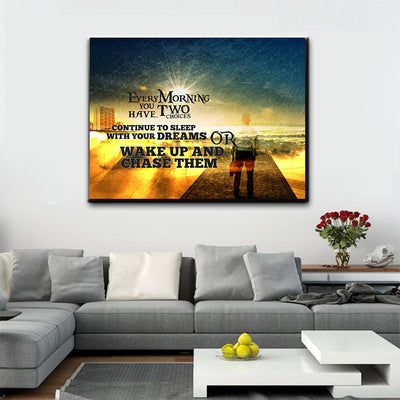 Wake Up And Chase Your Dreams Motivational Wall Art Canvas - Royal Crown Pro