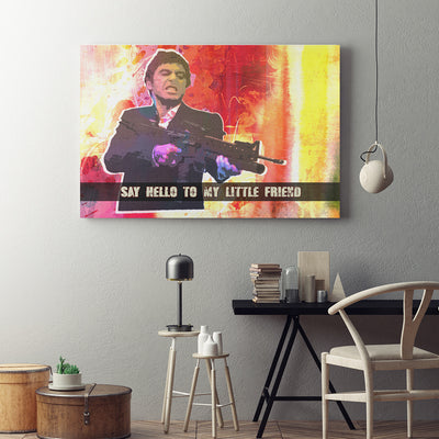 Say Hello To My Little Friend Abstract Pacino Framed Wall Art - Royal Crown Pro