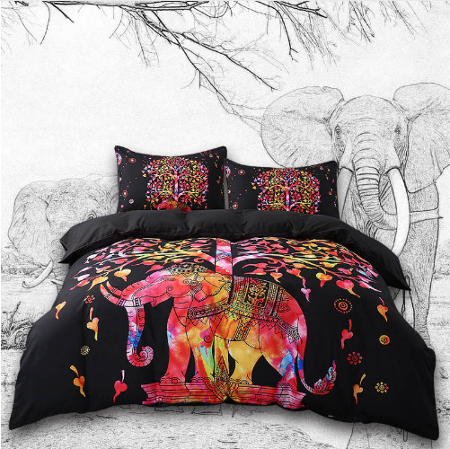 TREE OF LIFE ELEPHANT PRINT DUVET SET