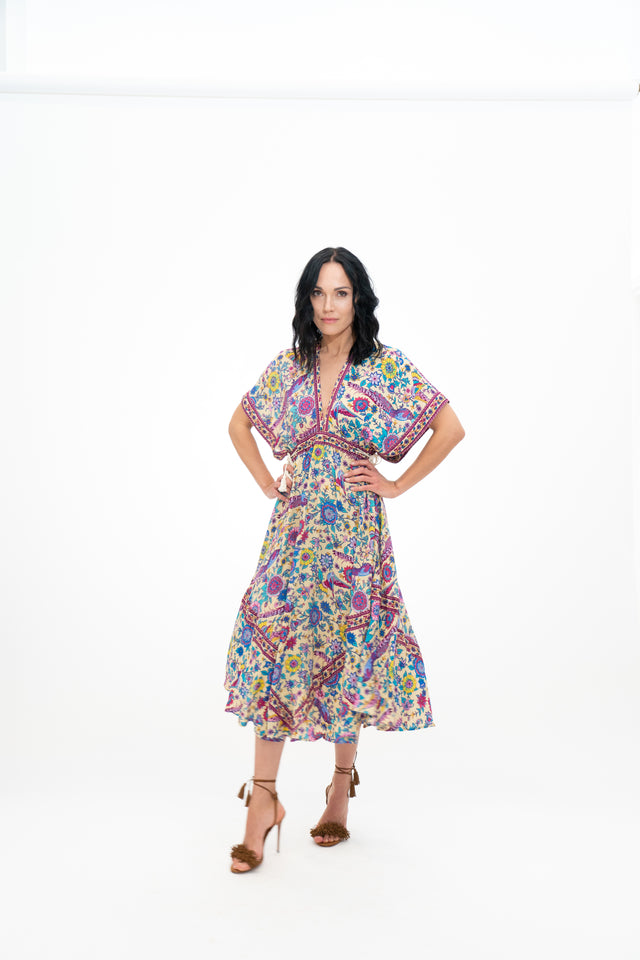 LOVELY BIRD FLORAL DRESS