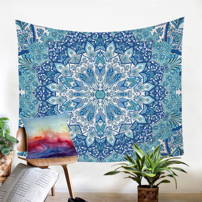 BLUE FLOWER MANDALA TAPESTRY