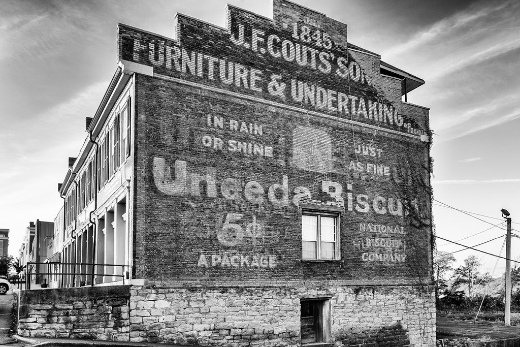 New work: Black and white photograph of the Uneeda Biscuit ghost sign in Clarksville, Tennessee