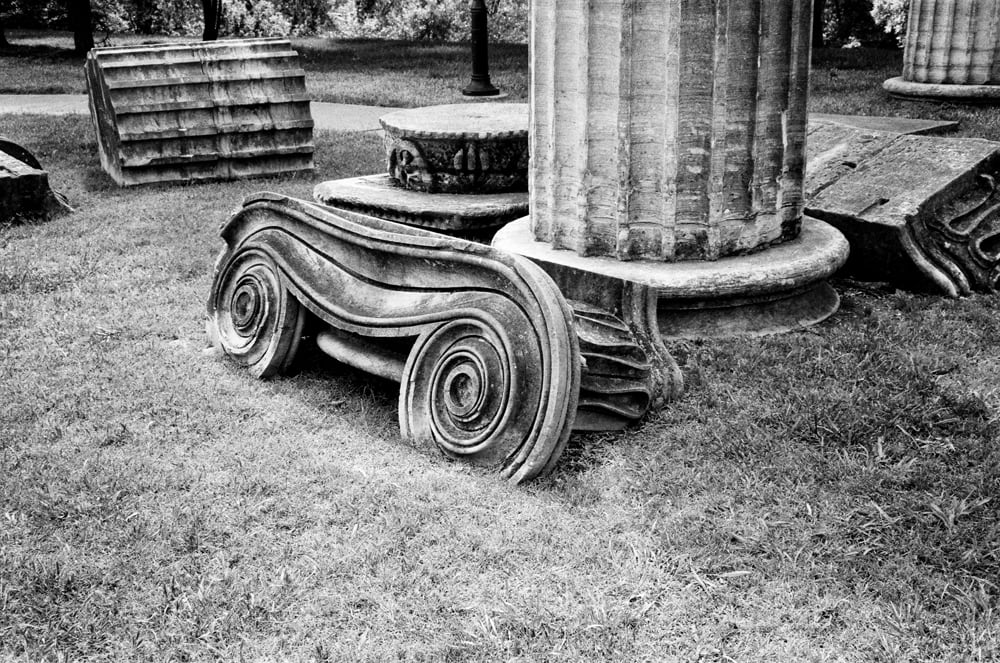 Nashville Greek Revival Column Fragments - Shot on 35mm Film. Click to buy a black and white print.