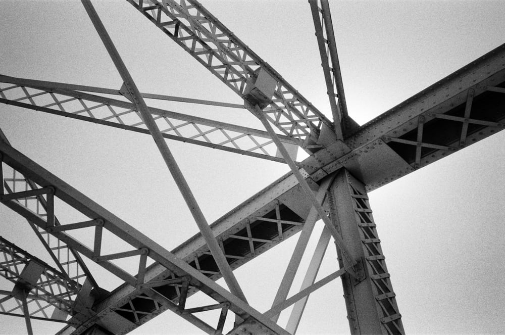 Trusses of the Pedestrian Bridge over the Cumberland River in Nashville - Shot on 35mm Film. Click to buy a print.
