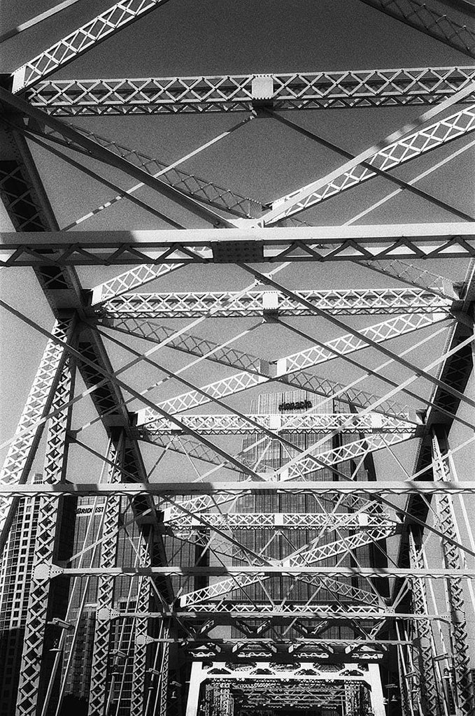 Crossing the Pedestrian Bridge in Nashville - Shot on 35mm Film. Click to buy a print.