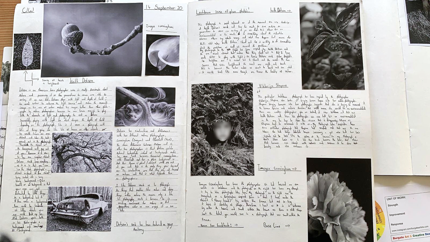 An example of a student journal, featuring several photographs by Keith Dotson, surrounded by the handwritten notes and photos of the student.
