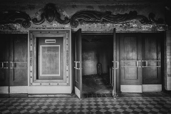 Lobby of an abandoned movie theater