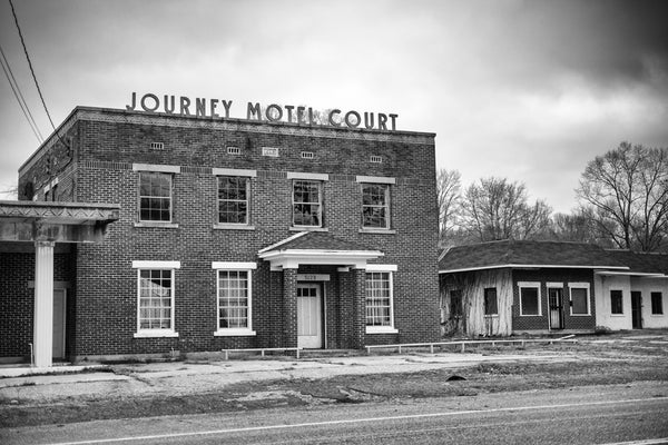 Journey Motel Court, a black and white photograph by Keith Dotson. Buy a print.