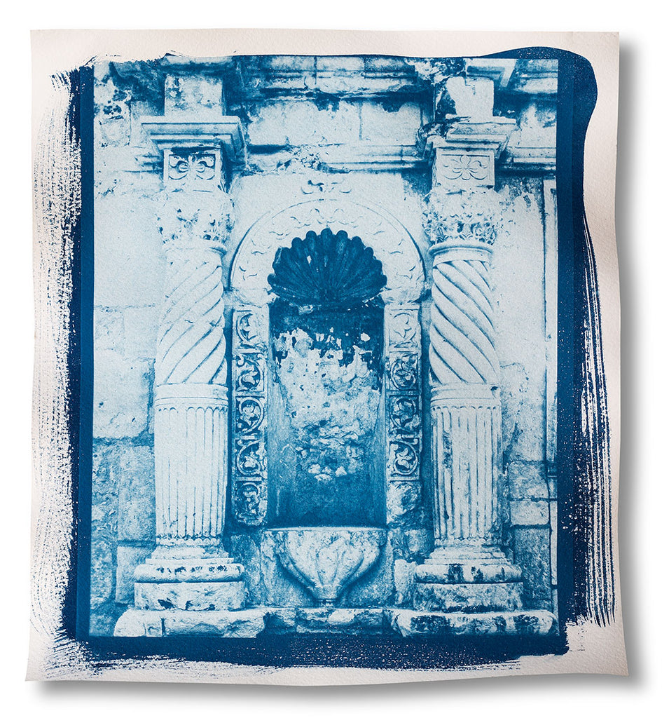 A detail of the front of the Alamo in San Antonio, untoned cyanotype print. Click to buy this print.