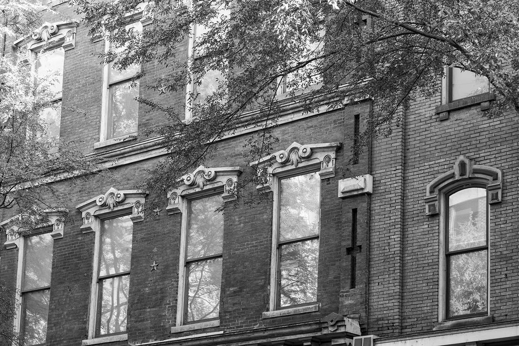 Nashville 2nd Avenue Windows, black and white photograph by Keith Dotson. Buy a print here.