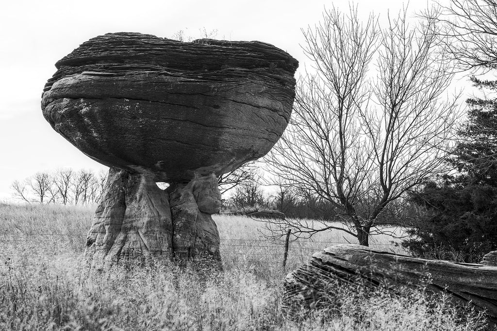 Mushroom Rocks on the Prairie - Black and White Landscape Photograph by Keith Dotson. By a print here.