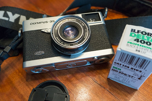 The Olympus 35 EC has a sharp, contrasty 42mm f/2.8 lens, perfect for B&W film